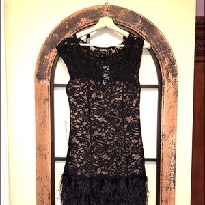 Bebe Black Lace Dress with Feathers